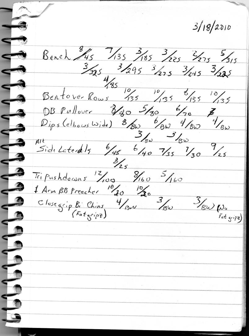 Workout 3/18/2010